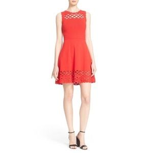 Milly Red Laser Cut Scallop Fit And Flare Dress